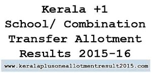 Kerala Plus One (+1) HSCAP transfer allotment results 2015