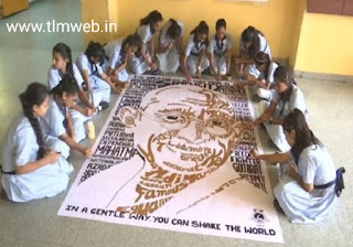 150years of Gandhi: Ahmedabad school students draw Gandhi's picture using 150 words