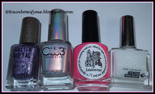 Barry M Purple Frost; Color Club What's Your Sign; Golden Rose #76, El Corazón Neon Pink