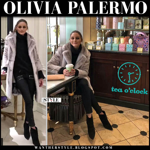 Olivia Palermo in grey fur cara mila renee coat, black skinny jeans and black ankle boots celebrity winter luxe outfit