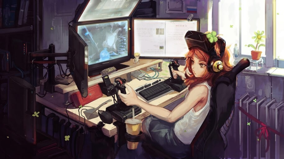 Gamer, Girl, Anime, Gaming, Desktop, Setup, 4K, #6.2619