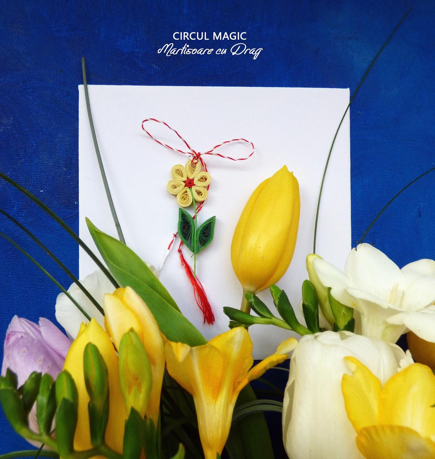 Martisoare Quilling 2017 Flori de Musetel Circul Magic