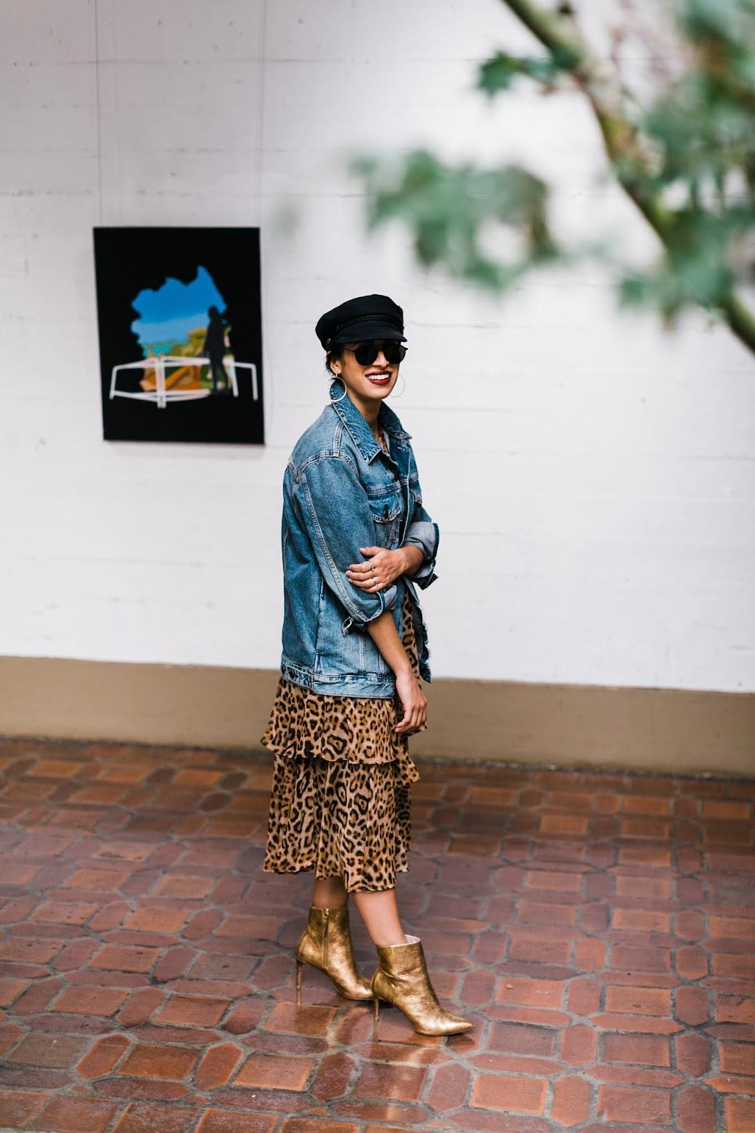 leopard dress, oversized denim, winter style, chic street style, San Francisco style, Rachel Roy leopard dress, gold booties