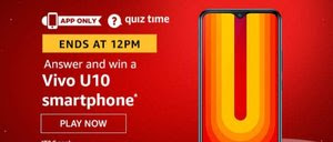 Amazon Quiz 29 December 2019 Answer Win - Vivo U10 Smartphone