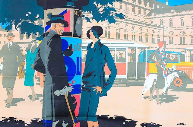 a Frank Newbould poster illustration in color of British urbanites talking in public