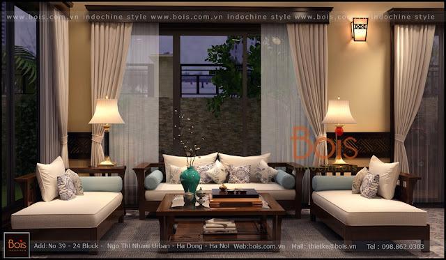 Sofa gỗ phong cách đông dương bois indochine.Sự phong phú của những vật liệu truyền thống