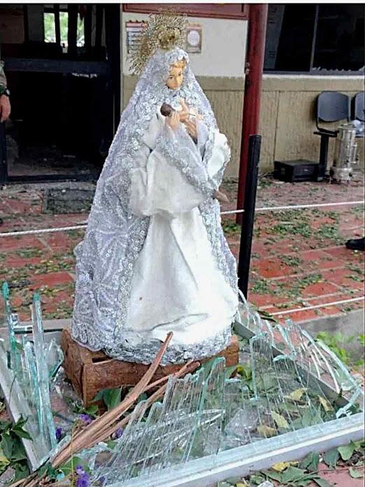 Virgem da Proteção: a delicada imagem intacta entre os restos da explosão