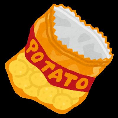 お菓子の袋のゴミのイラスト