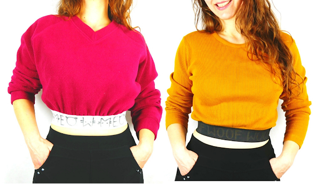 sewing crop top fast transformation of sweater refashion