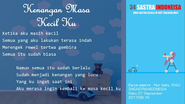 Kumpulan puisi kehidupan KENANGAN MASA KECIL KU | 34 Sastra Indonesia
