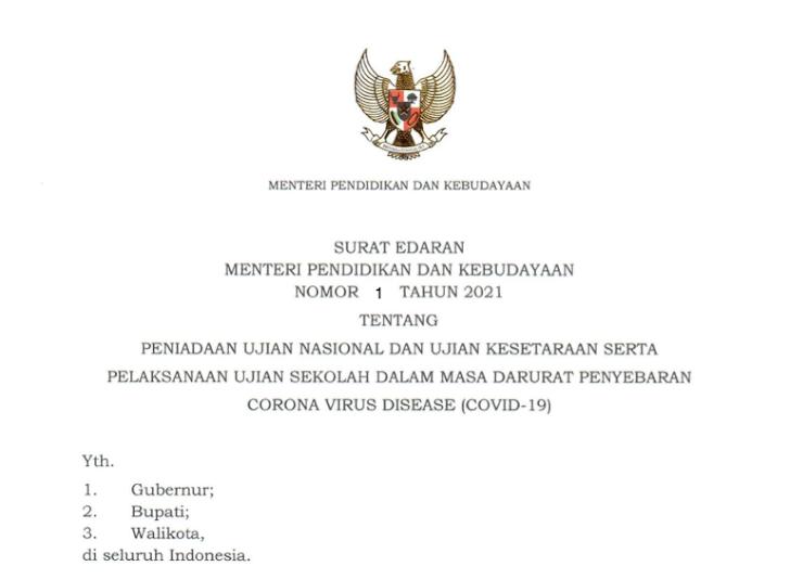 Mendikbud Keluarkan Surat Edaran Tentang Peniadaan UN dan Ujian Kesetaraan Tahun 2021