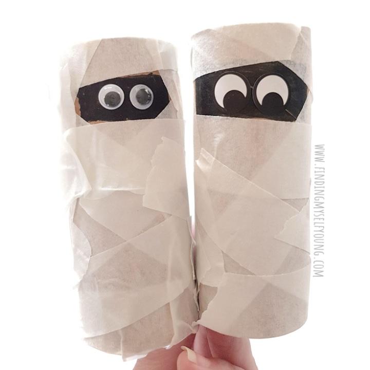 toilet paper roll mummy halloween craft