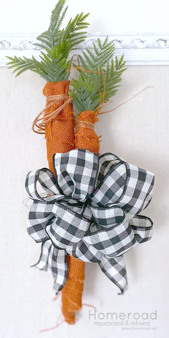 Gather a bunch of burlap carrots for a front door wreath