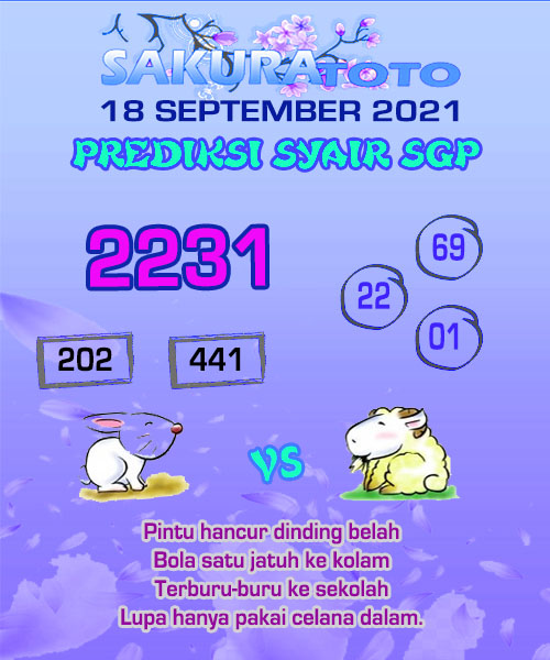 Syair Sakuratoto SGP Sabtu 18 September 2021
