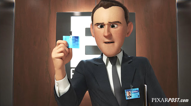 Pixar Purl image of Drew checking Purl's badge
