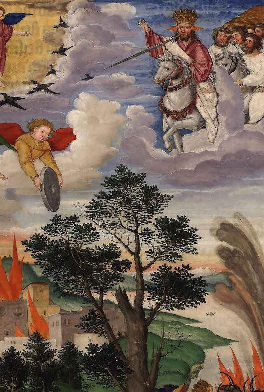 Vinda de Cristo em pompa e majestade. Ottheinrich-Bibel, Bayerische Staatsbibliothek, Cgm 8010