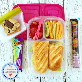 Lunch box fun: This leftover French bread sub sandwich was a HUGE hit w/ the girls!