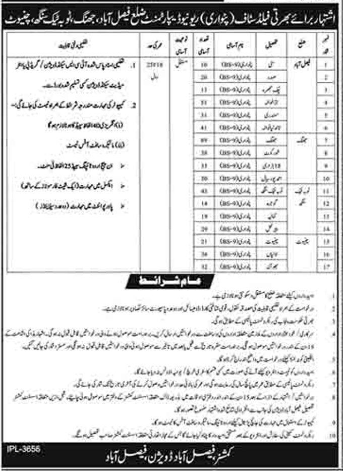 New Jobs in Pakistan Patwari Recruitment 2021 in Chiniot, Jhang Toba Tek Singh & Faisalabad