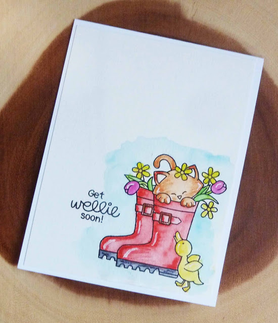 Get wellie soon by Joyce M. features Newton's Rain Boots by Newton's Nook Designs; #newtonsnook, #inkypaws, #watercolor, #catcards, #cardmaking