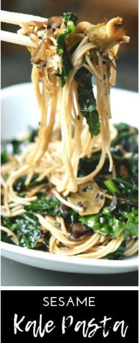 SESAME KALE PASTA #asianfood