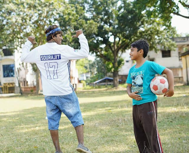 Sourajit Saha and Rick Playing Football 1