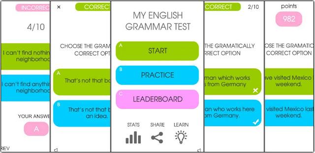 قم بتنزيل My English Grammar Test PRO 1.2 - برنامج ممتع لتحسين قواعد اللغة الإنجليزية للاندرويد