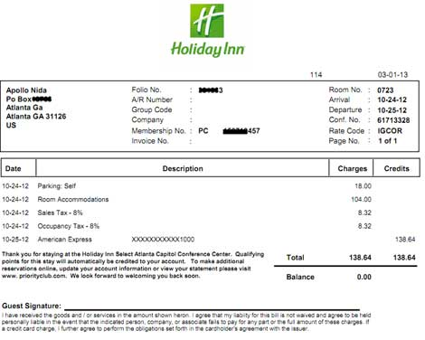 Receipt Template Hotel Hilton | Reference Letter Buzzwords
