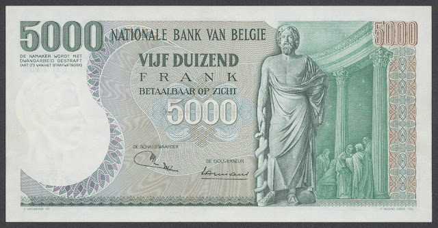 Currencies of Europe, Belgium 5000 Belgian francs banknote note bill