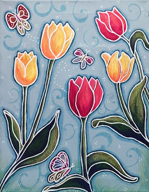 Tulips and Flutterbys