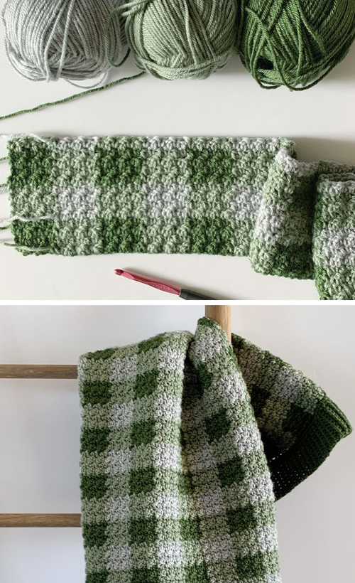 Crochet Green Gingham Blanket - Free Pattern