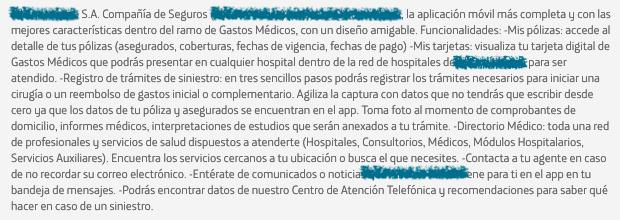 Funcionalidades de Aplicación de Compañía de Seguros Médicos imagen
