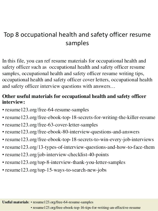 Safety Officer Resume Sample Doc on