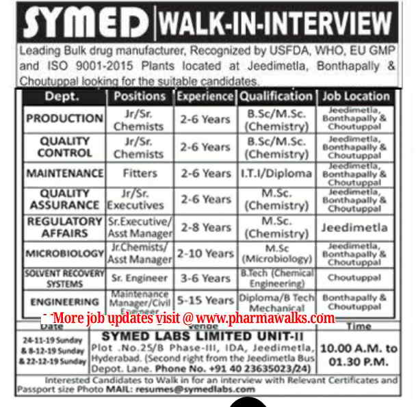 Symed Laboratories walk-in interview for multiple positions on 24th Nov' & 8th, 22nd Dec' 2019