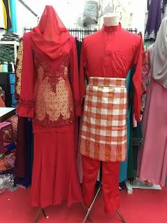 baju songket pengantin merah