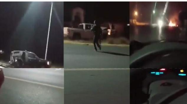 """Video: Enfrentamiento entre Cártel del Golfo y Cártel del Noreste; el CDG hizo correr a los del Cártel del Noreste, les quemaron un Monstruo """"Blindado"""""""