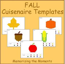 Pre-K Math Fall Cuisenaire Shapes Apple, Pumpkin, Corn, Acorn and Leaf