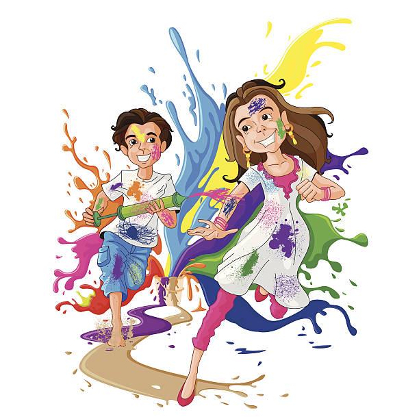 girl and boy celebrating holi 2018
