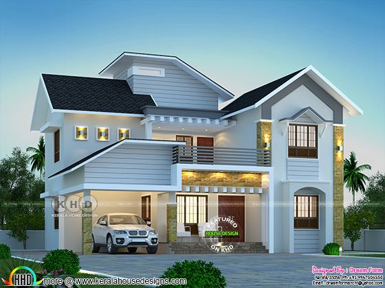 4 bedroom beautiful mixed roof house design