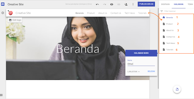 Cara membuat menu navigasi website di google sites