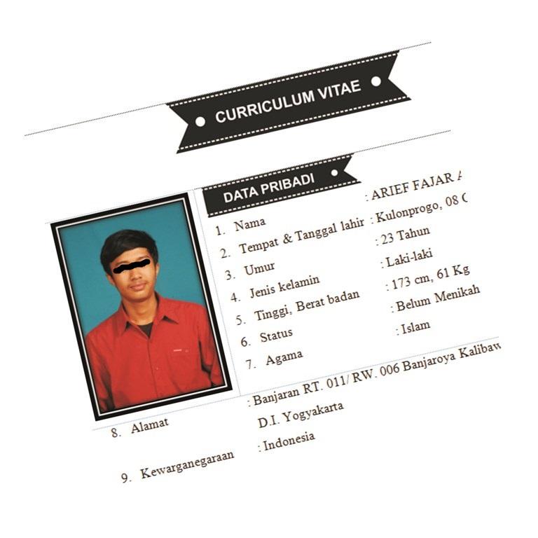 Contoh Curriculum Vitae Terbaru Ariefpedia