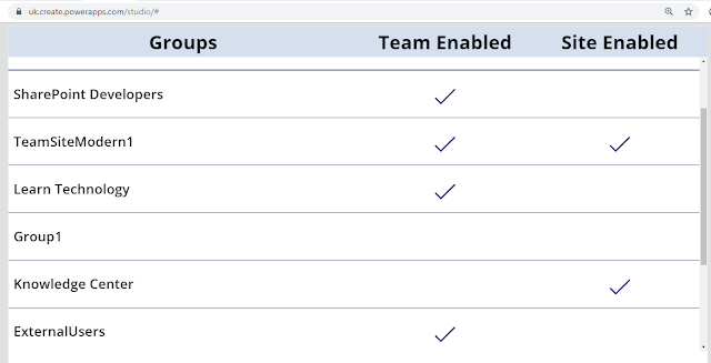 Running App on Power Apps - to represent Microsoft Teams/ Team Site associations with office 365 groups
