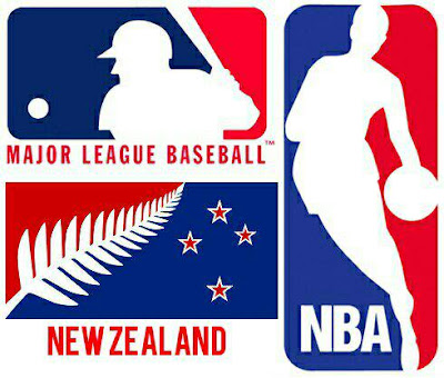 New Zealand flag referendum comparing suggested flag to the NBA and major league baseball logo. Laser Kiwi. marchmatron.com