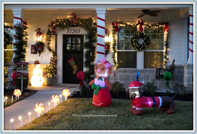 Cottage -Farmhouse -Christmas- Porch-Christmas-Inflatables-Dog-Gingerbread-Girl- -From My Front Porch To Yours