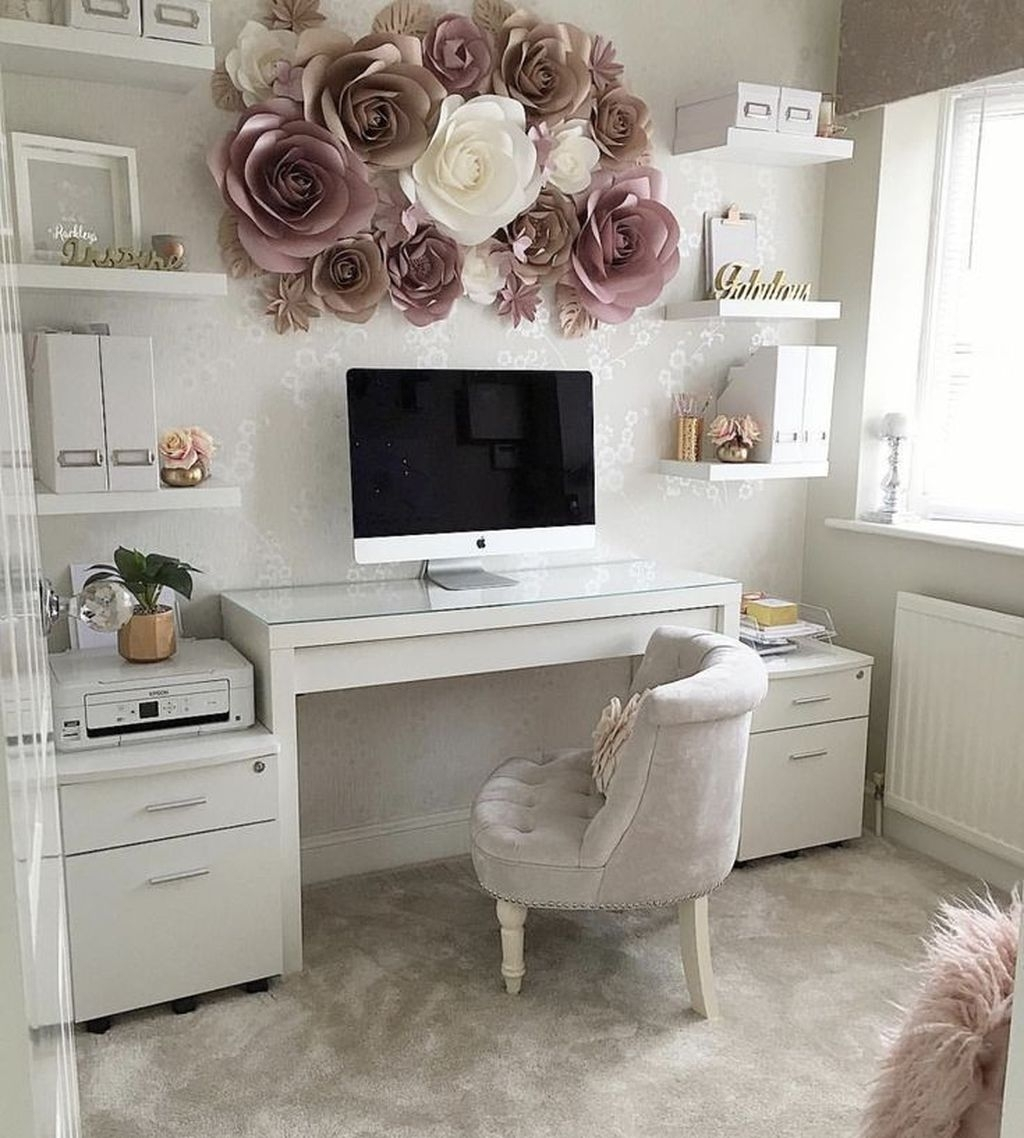 Cozy Homeoffice Decor: 32 Comfortable Home Office Design Ideas For Women