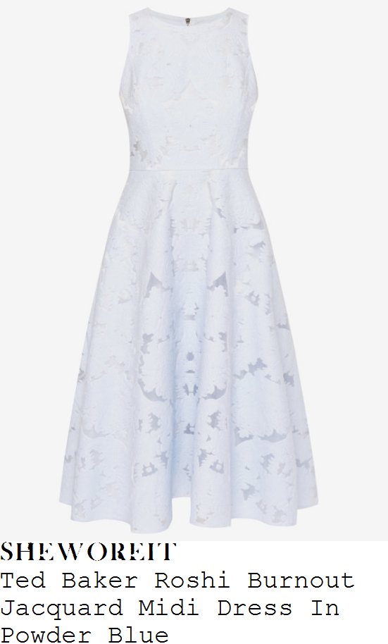holly-willoughby-ted-baker-roshi-pale-powder-blue-jacquard-print-fit-and-flare-midi-dress