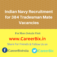 Indian Navy Recruitment for 384 Tradesman Mate Vacancies
