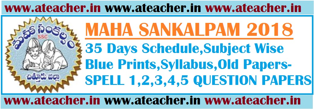 MAHA SANKALPAM 2018 35 Days Schedule,Subject Wise Blue Prints,Syllabus,Old Papers-SPELL 1,2,3,4,5 QUESTION PAPERS