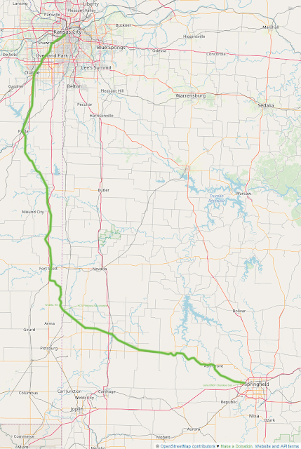 BNSF Fort Scott Subdivision - map © OpenStreetMap contributors