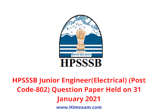 HPSSSB Junior Engineer(Electrical) (Post Code-802) Question Paper Held on 31 January 2021