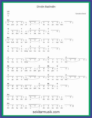 not angka dindin badindin lagu daerah sumatera barat